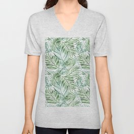 Watercolor palm leaves pattern Unisex V-Neck