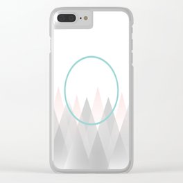 Minimal Abstract Graphic Mountains Circle Blue Pink Gray Clear iPhone Case