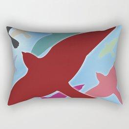 Multicolored Flock over Blue Sky Rectangular Pillow