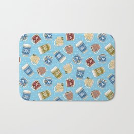 Cozy Mugs - Bg Blue Wood Bath Mat
