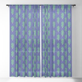 Vegetable: Brussels Sprout Blue Sheer Curtain