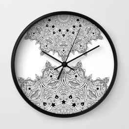 Stars and Stripes - Patriotic Mandala - Black and White - 'Merica! Wall Clock