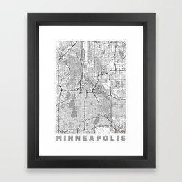 Minneapolis Map Line Framed Art Print