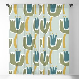 Dancing Floral from My Garden Blooms Blue, Green & Mustard Blackout Curtain