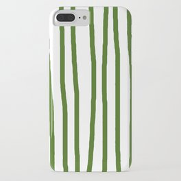 Simply Drawn Vertical Stripes in Jungle Green iPhone Case