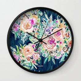 SO RICH Dark Boho Floral Wall Clock