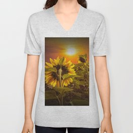 Sunflowers facing the Sunset Unisex V-Neck
