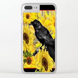 CROW & YELLOW SUNFLOWERS FIELDS Clear iPhone Case