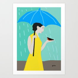 Lady in the Rain Art Print