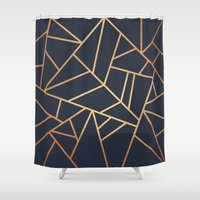 copper Shower Curtains featuring Copper and Midnight Navy by Elisabeth Fredriksson