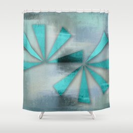 Turquoise Triangles On Blue Grey Backdrop Shower Curtain