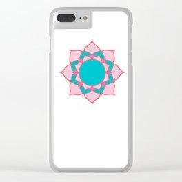 mandala pink/blue Clear iPhone Case
