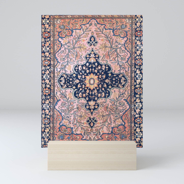 Sarouk Antique West Persian Rug Print Mini Art Print By Vickybragomitchell