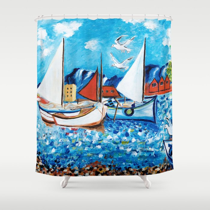 Sailboats Shower Curtain By Artvondanielle