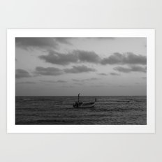 one man boat Art Print