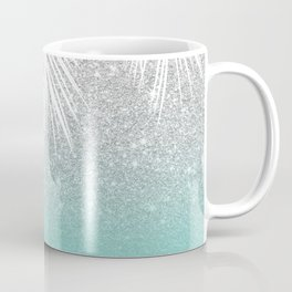 Modern tropical white palm tree silver glitter ombre on robbin egg blue turquoise Coffee Mug