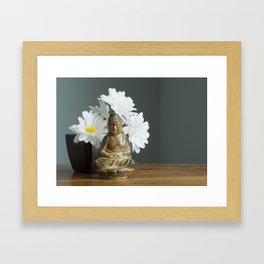 Buddha with Daisies Framed Art Print