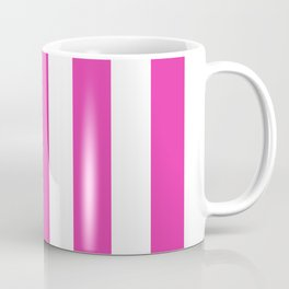 Frostbite fuchsia - solid color - white vertical lines pattern Coffee Mug