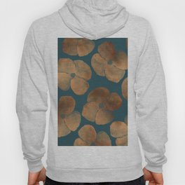 Abstract Metal Copper Flowers on Emerald Hoody