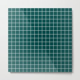 Deep jungle green - green color - White Lines Grid Pattern Metal Print