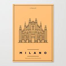 Minimal Milano City Poster Canvas Print