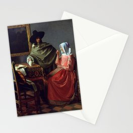 "Johannes Vermeer ""A Lady Drinking and a Gentleman"" Stationery Cards"