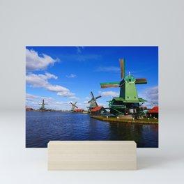 Dutch mills and blue skies   Zaanse Schans   Zaandam, the Netherlands   Fine art travel photography Mini Art Print