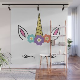 Unicorn Face flowers eyelashes horn ears Wall Mural