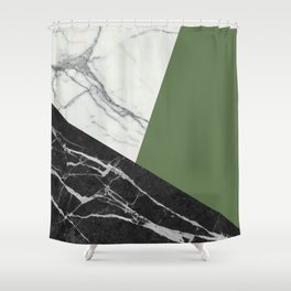 Black and White Marble with Pantone Kale Duschvorhang