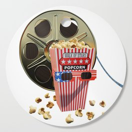 3D Movie Reel and Buttered Popcorn Cutting Board