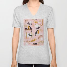 Minimal Cats and Nature Pattern 2 Pink Unisex V-Neck