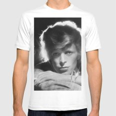 DAVID BOWIE 1975 White MEDIUM Mens Fitted Tee