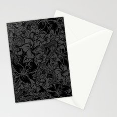 Snaky Fleur, Black and Grey Stationery Cards