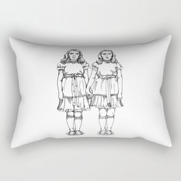 Little Girl Horror Twins Rectangular Pillow