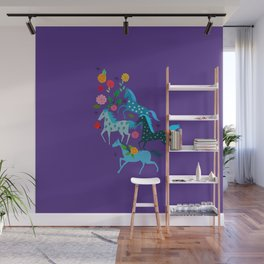Blue horse riding pattern Wall Mural