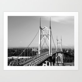 St. John's Bridge Portland Oregon Northwest steel suspension Cathedral Park Art Print