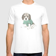 puppy White MEDIUM Mens Fitted Tee