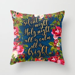 Silent night, pink florals and calligraphy Throw Pillow