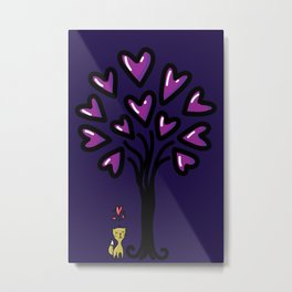 Cat in love sitting under the tree at night, sketchy doodles Metal Print