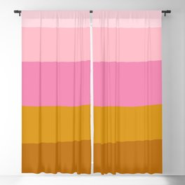 Abstract Organic Color Blocking in Pink and Honey Gold Blackout Curtain