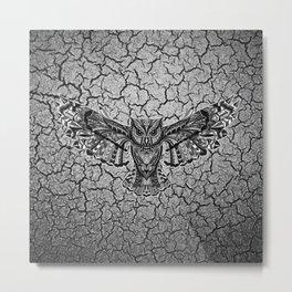 Black Owl Pattern Metal Print
