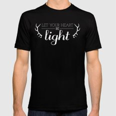 Let Your Heart Be Light LARGE Mens Fitted Tee Black