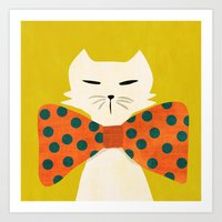 Cat with incredebly oversized humongous bowtie Art Print