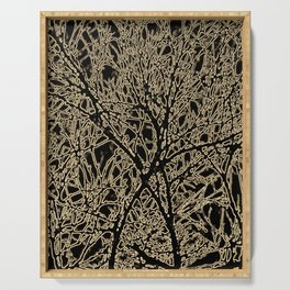Tangled Tree Branches in Black and Sepia Serving Tray
