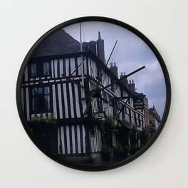 Vintage England Art Print * Kodachrome * 1950's * Falcon Hotel * Stratford * European Photography Wall Clock