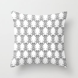 Deer Black and White Pattern Throw Pillow