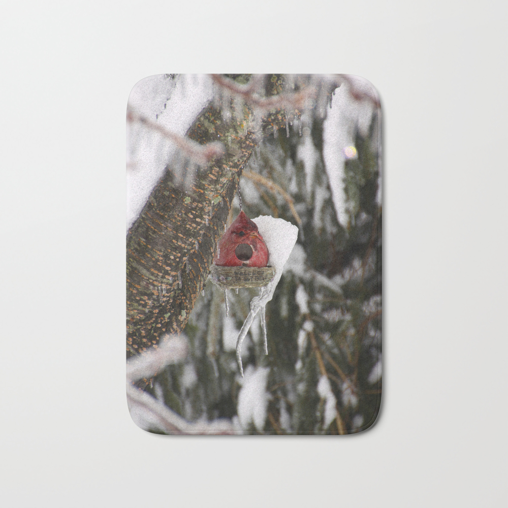 Cardinal Bird House In The Snow Bath Mat by Pattimelfi (BMT9764659) photo