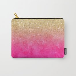 Modern girly gold glitter ombre fade neon pink watercolor Carry-All Pouch