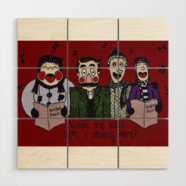 Christmas carolling (Coloured version) Wood Wall Art