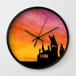 Hogwarts Watercolor sunset Wall Clock